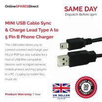 1.8m/2m/3m/5m Long MINI USB Cable Sync & Charge Lead Type A to 5 Pin B Phone Charger 28 AWG